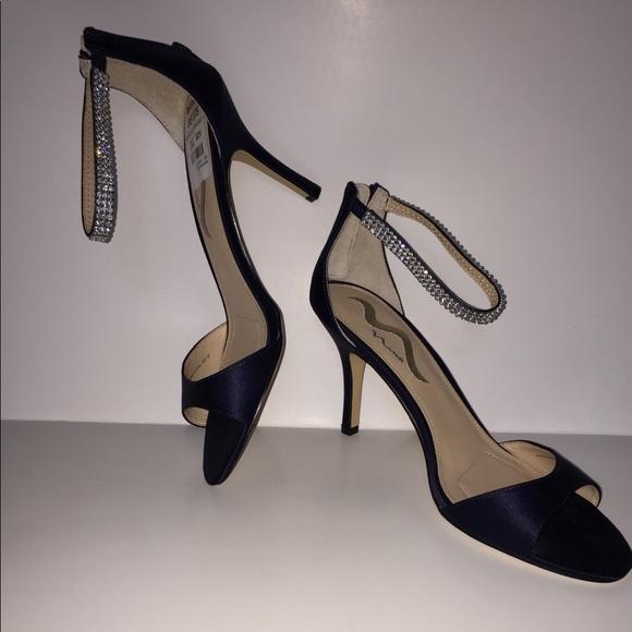 ade7d5dc292 NINA women heel shoes navy satin 10 ankle straps Boutique